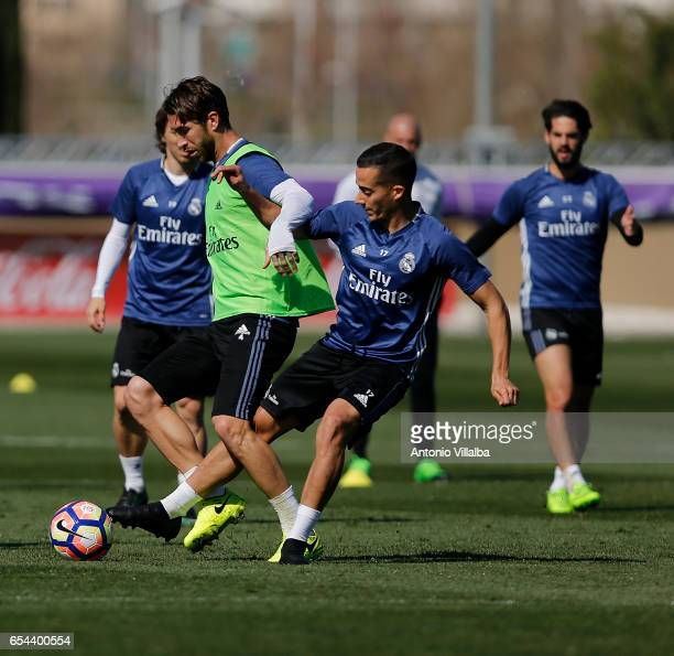 Ramos and Lucas Vazquez of Real Madrid during a training session at Valdebebas training ground on March 17 2017 in Madrid Spain