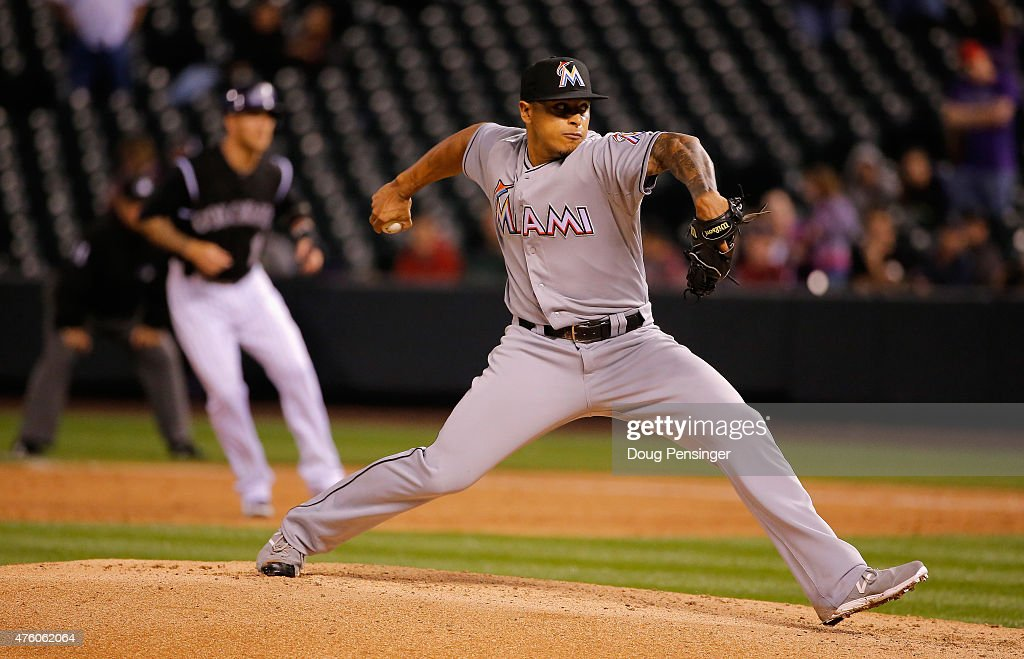 A.J. Ramos #44 of the Miami Marlins delivers against the Colorado Rockies at Coors Field on June 5, 2015 in Denver, Colorado. The Marlins defeated the Rockies 6-2.