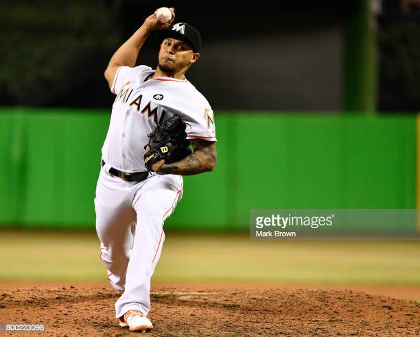Ramos of the Miami Marlins during pitches in the ninth inning the game between the Miami Marlins and the Chicago Cubs at Marlins Park on June 23 2017...