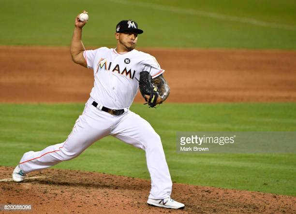 Ramos of the Miami Marlins in action during the game between the Miami Marlins and the Los Angeles Dodgers at Marlins Park on July 14 2017 in Miami...