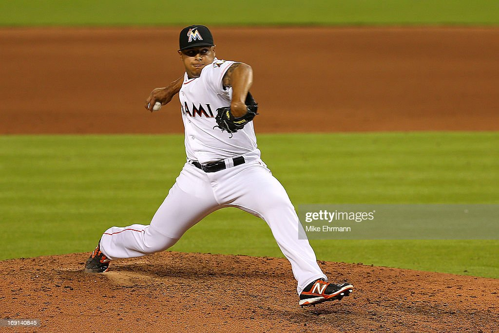 A.J. Ramos #44 of the Miami Marlins pitches during a game against the Philadelphia Phillies at Marlins Park on May 20, 2013 in Miami, Florida.