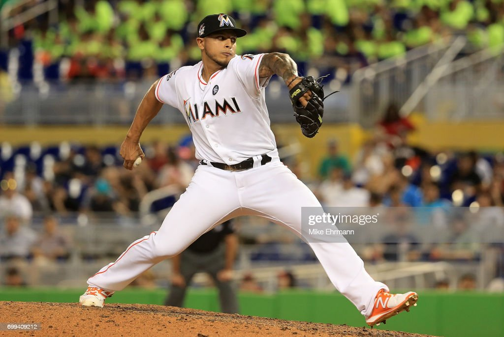 AJ Ramos #44 of the Miami Marlins pitches during a game against the Washington Nationals at Marlins Park on June 21, 2017 in Miami, Florida.