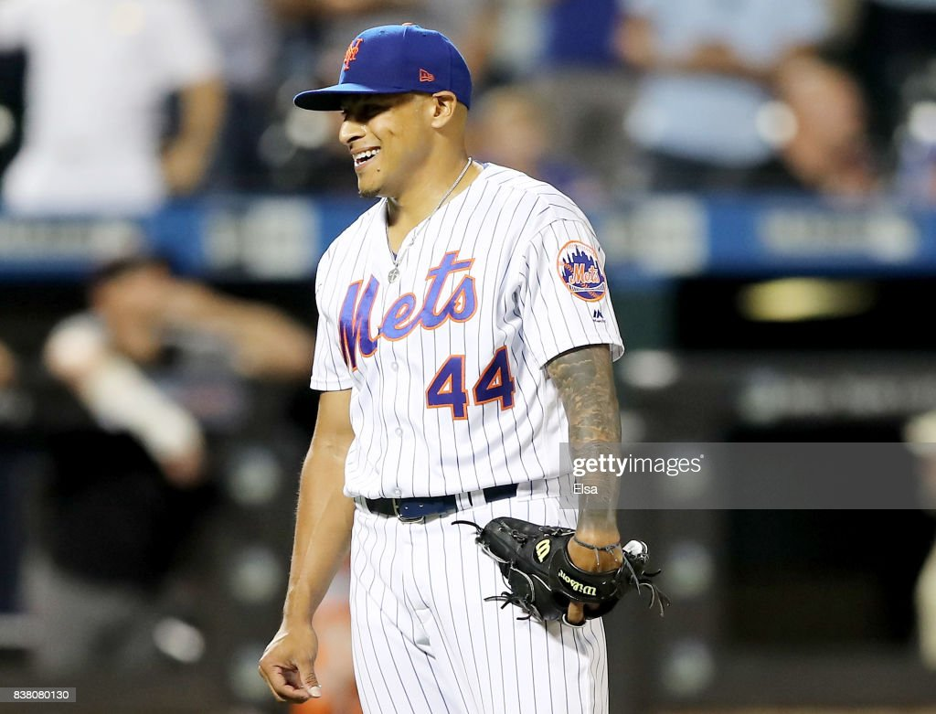 AJ Ramos #44 of the New York Mets celebrates the 4-2 win over the Arizona Diamondbacks on August 23, 2017 at Citi Field in the Flushing neighborhood of the Queens borough of New York City.