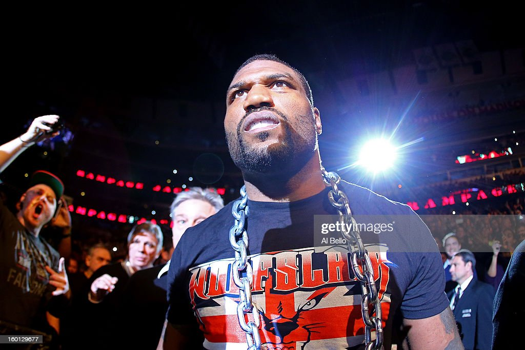 Rampage Jackson walks to the octagon prior to his Light Heavyweight Bout against Glover Teixeira part of UFC on FOX at United Center on January 26, 2013 in Chicago, Illinois.
