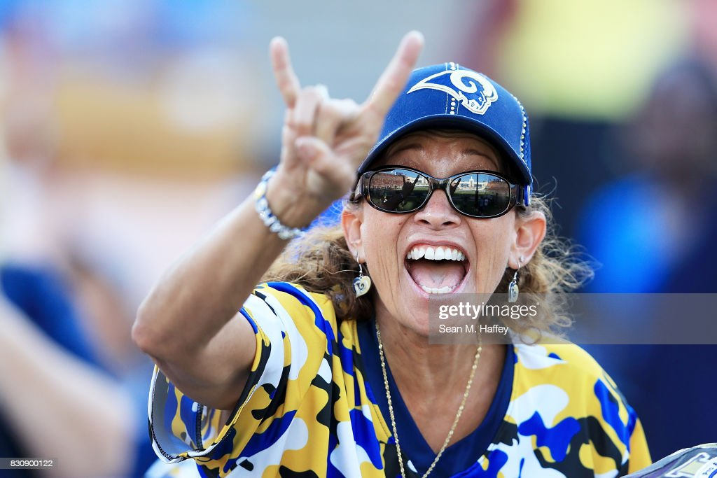 A Rams fan attends the first preseason game against the Dallas Cowboys at the Los Angeles Memorial Coliseum on August 12, 2017 in Los Angeles, California.