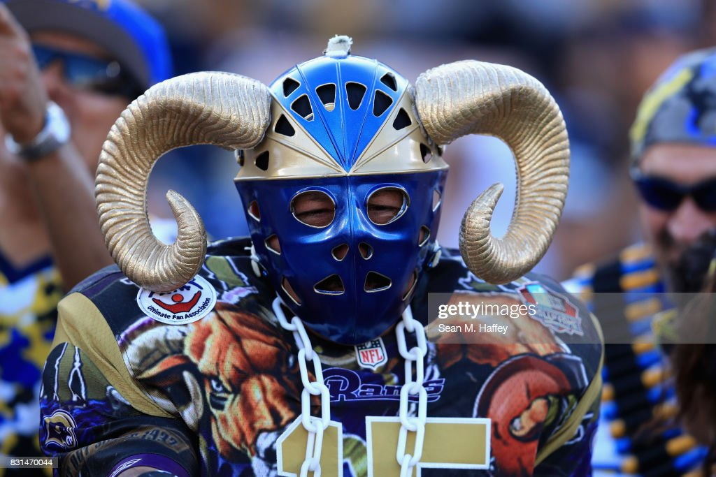 A Rams fan looks on prior to a presason game against the Dallas Cowboys at Los Angeles Memorial Coliseum on August 12, 2017 in Los Angeles, California.