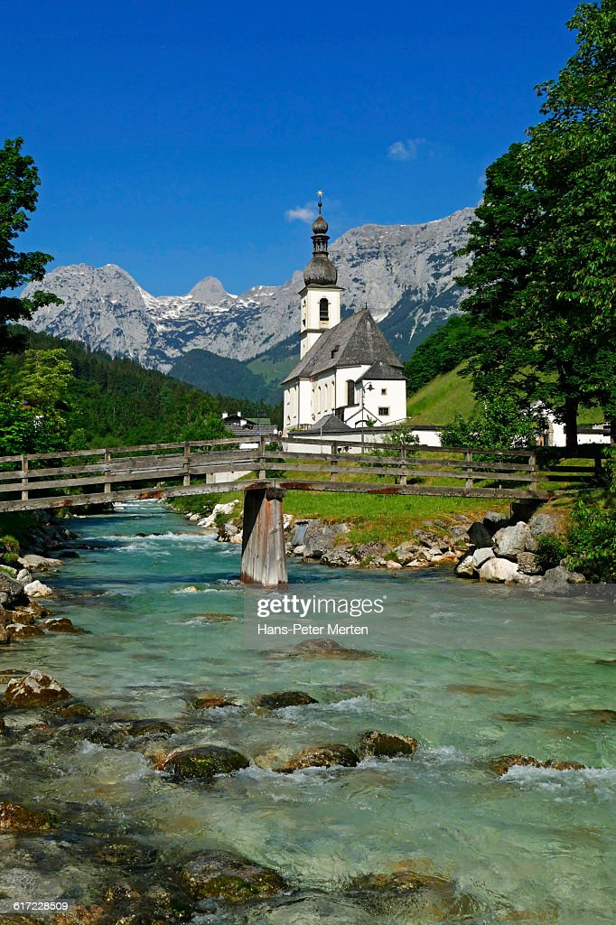 Ramsau, Church of St. Sebastian, Bavaria : Stock Photo