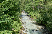 a little river at ramsau, a bavarian village in germany