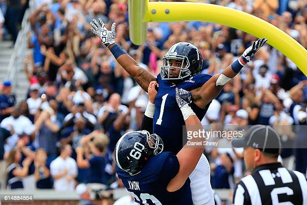 A Ramsby of the Georgia Southern Eagles celebrates scoring a touchdown during the first half against the Georgia Tech Yellow Jackets at Bobby Dodd...