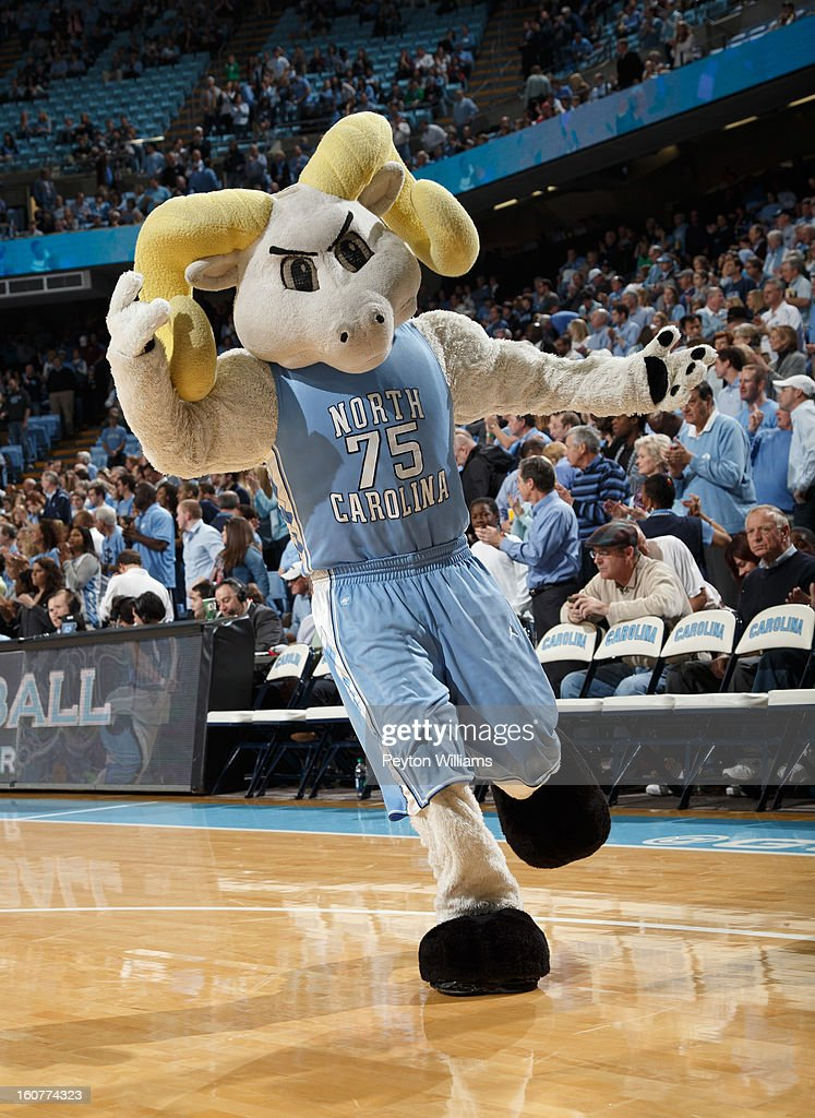 Ramses, mascot of the North Carolina Tar Heels, cheers fans during a game against the Virginia Tech Hokies on February 02, 2013 at the Dean E. Smith Center in Chapel Hill, North Carolina. North Carolina won 72-60 in overtime.