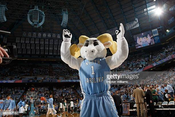 Ramses mascot of the North Carolina Tar Heels cheers the crowd before a game against the UAB Blazers on December 27 2014 at the Dean E Smith Center...