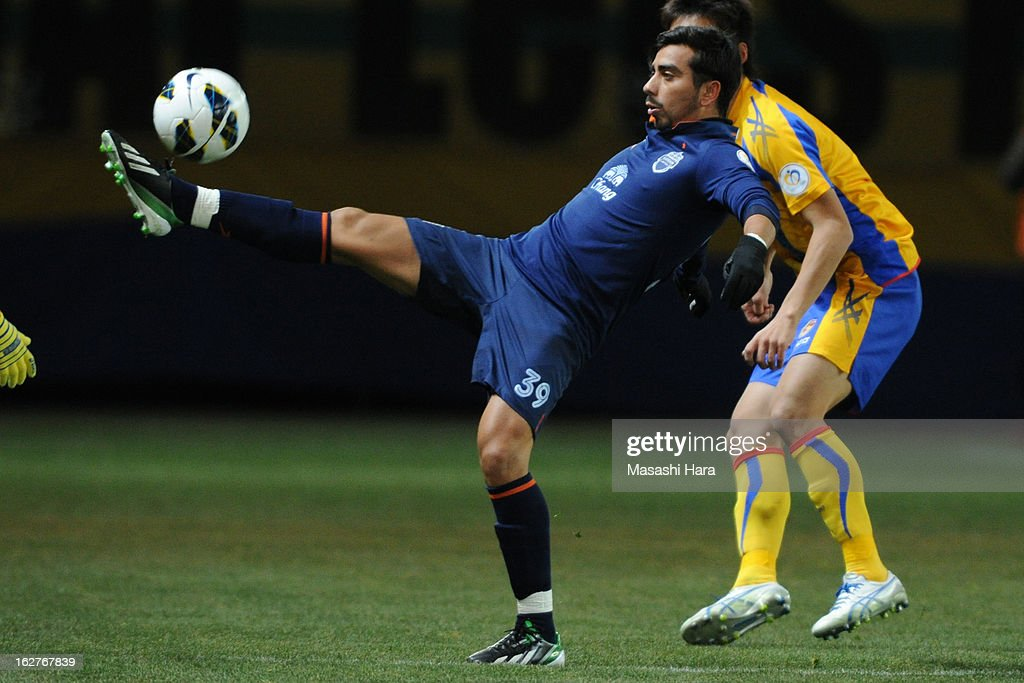 Ramses Maximiliano Bustos Guerrero #39 of Buriram United in action during the AFC Champions League Group E match between Vegalta Sendai and Buriram United at Sendai Stadium on February 26, 2013 in Sendai, Japan.