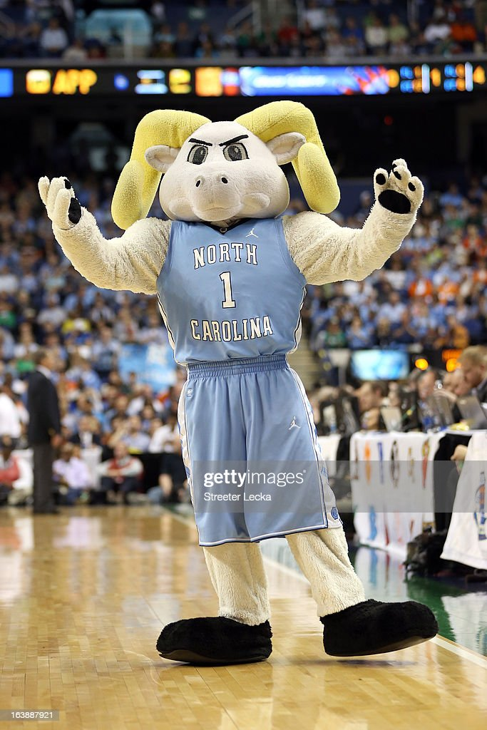 Ramses, the mascot for the North Carolina Tar Heels performs against the Miami (Fl) Hurricanes during the final of the Men's ACC Basketball Tournament at Greensboro Coliseum on March 17, 2013 in Greensboro, North Carolina.