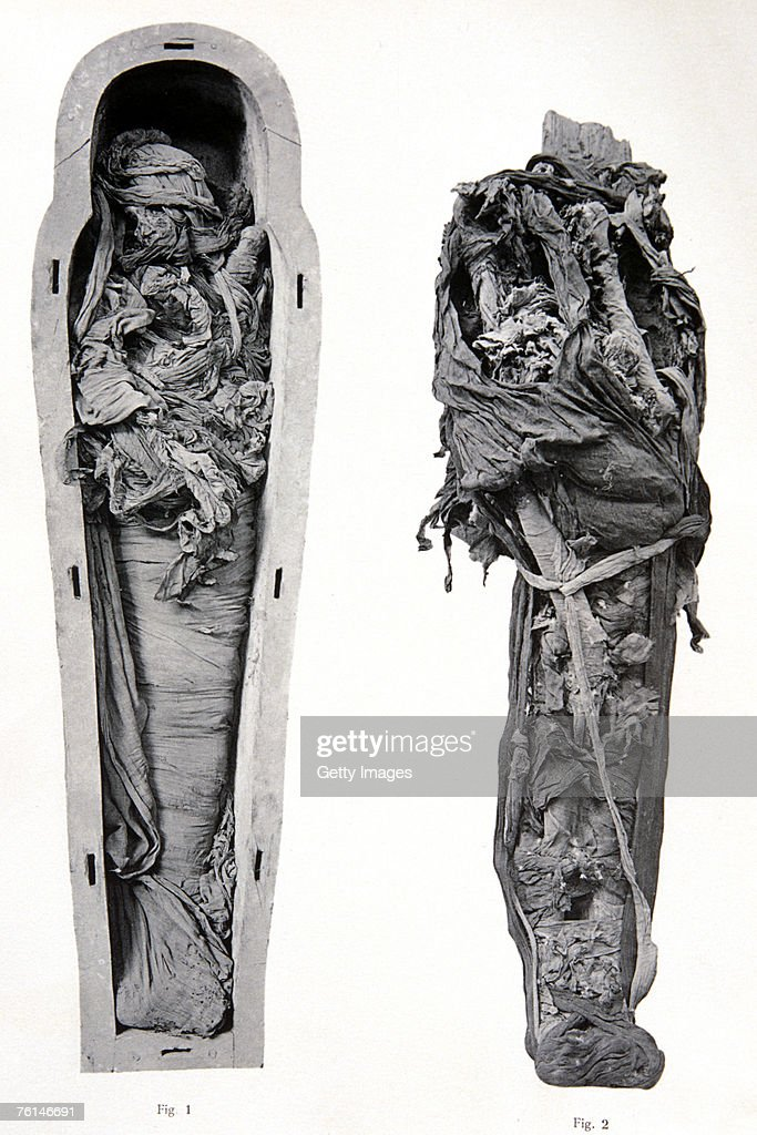 Ramses VI at Cairo Museum Egypt Photograph shows the rough techniques used for unbandaging mummies at the turn of the 20th century
