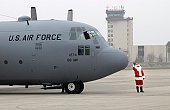 Ramstein Air Base, Germany - Santa arrives here by a C-130 Hercules December 12 to say hello to the kids at the 86th Operations Group Christmas party.