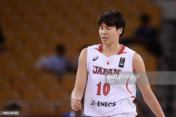 Ramu Tokashiki of Japan reacts in semifinal match between Japan and Chinese Taipei during the 2015 FIBA Asia Championship for Women at Wuhan Sports...