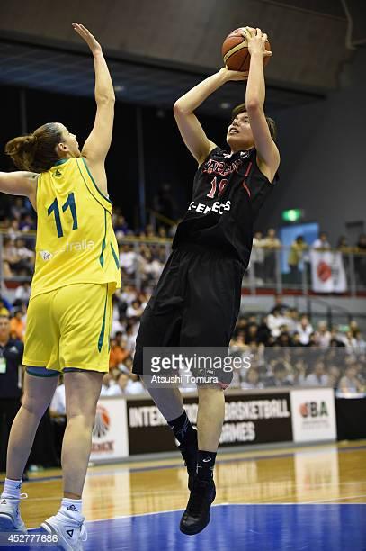 Ramu Tokashiki of Japan takes a shot during the women's basketball international friendly match between Japan and Australia at Kamiyama City Sports...