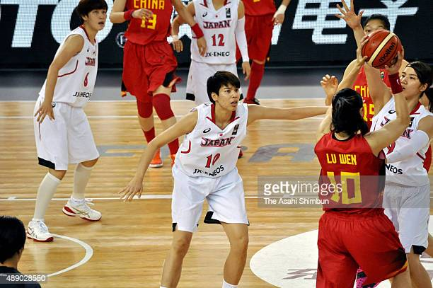 Ramu Tokashiki of Japanin action during the final match between Japan and China during the 2015 FIBA Asia Championship for Women at Wuhan Sports...