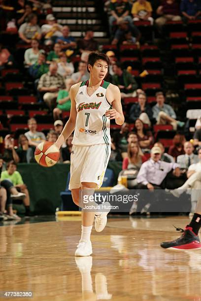 Ramu Tokashiki of the Seattle Storm drives to the basket against the Connecticut Sun during the game on June 16 2015 at Key Arena in Seattle...