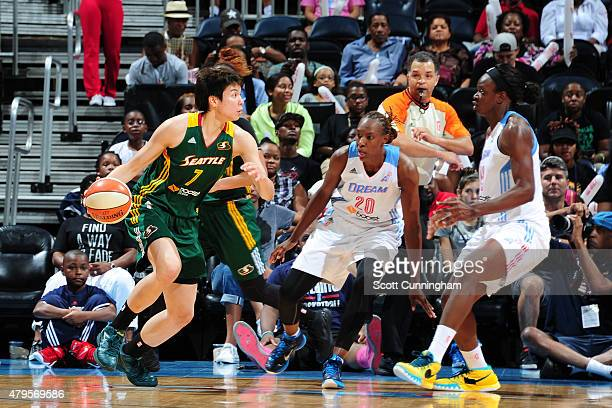 Ramu Tokashiki of the Seattle Storm drives to the basket against the Atlanta Dream during the game on July 5 2015 at Philips Arena in Atlanta Georgia...