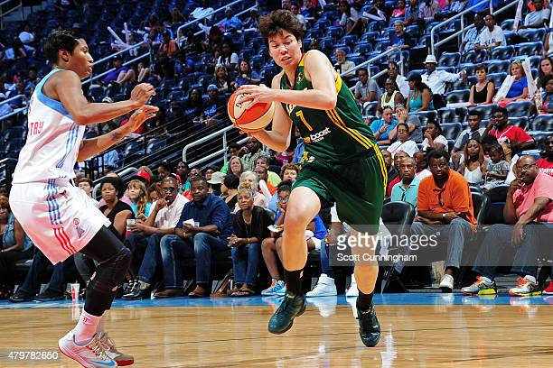 Ramu Tokashiki of the Seattle Storm drives to the basket against the Atlanta Dream on July 5 2015 at Philips Arena in Atlanta Georgia NOTE TO USER...