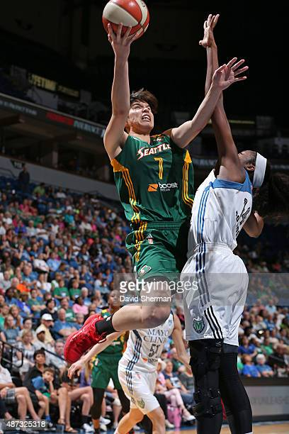 Ramu Tokashiki of the Seattle Storm drives to the basket against the Minnesota Lynx on September 8 2015 at Target Center in Minneapolis Minnesota...