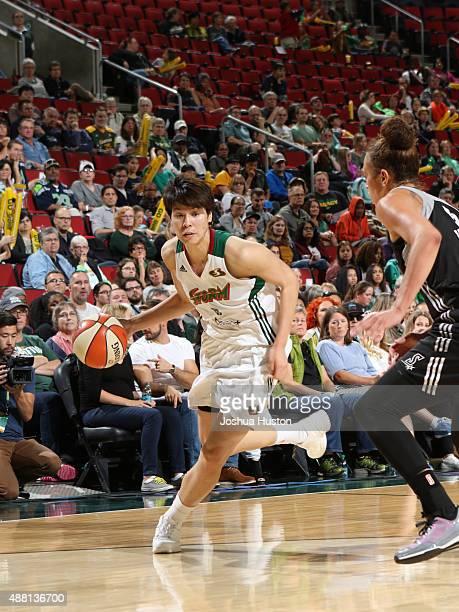 Ramu Tokashiki of the Seattle Storm drives to the basket against the San Antonio Stars on September 13 2015 at Key Arena in Seattle Washington NOTE...