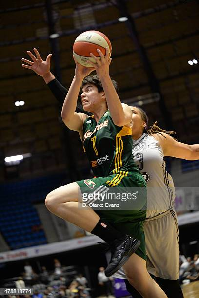 Ramu Tokashiki of the Seattle Storm goes for the layup against the San Antonio Stars during the game on June 27 2015 at Freeman Coliseum in San...
