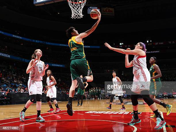 Ramu Tokashiki of the Seattle Storm goes for the layup against the Washington Mystics on July 29 2015 at the Verizon Center in Washington DC NOTE TO...