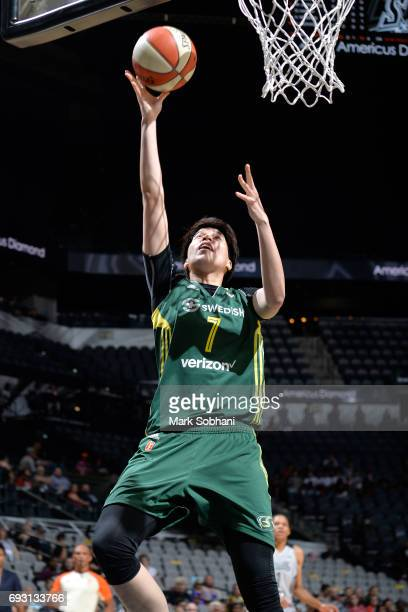 Ramu Tokashiki of the Seattle Storm goes to the basket against the San Antonio Stars on June 6 2017 at ATT Center in San Antonio Texas NOTE TO USER...