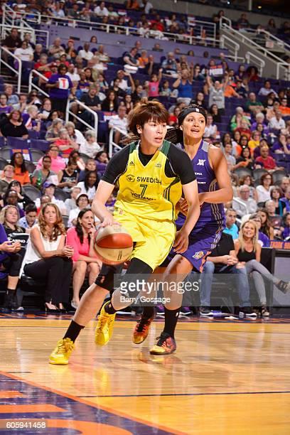Ramu Tokashiki of the Seattle Storm handles the ball against the Phoenix Mercury on September 15 2016 at Talking Stick Resort Arena in Phoenix...