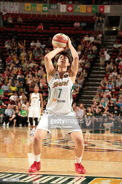 Ramu Tokashiki of the Seattle Storm shoots a free throw against the Atlanta Dream during the WNBA game on July 18 2015 at Key Arena in Seattle...