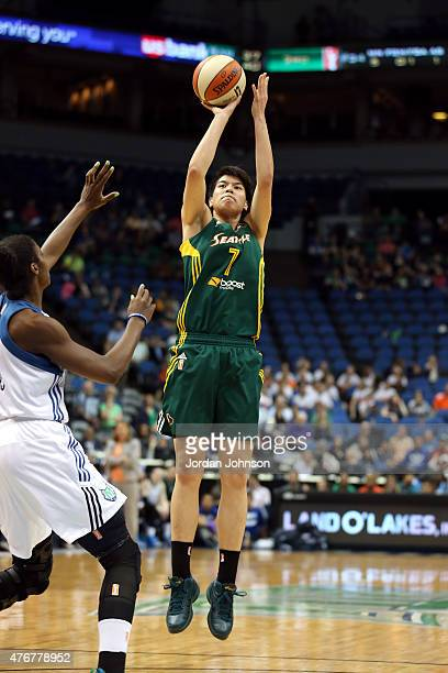 Ramu Tokashiki of the Seattle Storm shoots against the Minnesota Lynx during the WNBA game on June 11 2015 at Target Center in Minneapolis Minnesota...