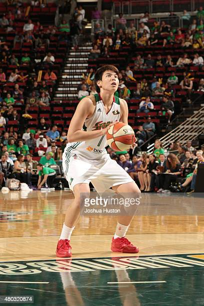 Ramu Tokashiki of the Seattle Storm shoots against the Phoenix Mercury during the game on June 25 2015 at KeyArena in Seattle Washington NOTE TO USER...