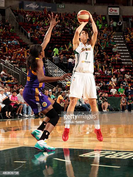 Ramu Tokashiki of the Seattle Storm shoots the ball against the Los Angeles Sparks on July 15 2015 at KeyArena in Seattle Washington NOTE TO USER...