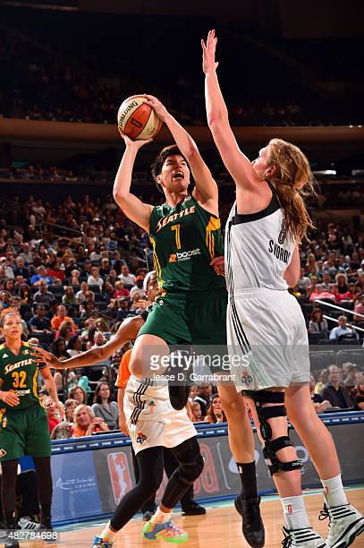 Ramu Tokashiki of the Seattle Storm shoots the ball against the New York Liberty on August 2 2015 at Madison Square Garden in New York City NY NOTE...