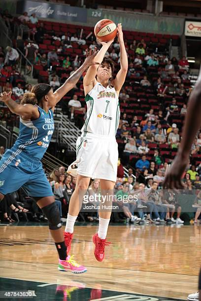 Ramu Tokashiki of the Seattle Storm shoots the ball during a game against the Minnesota Lynx on September 11 2015 at Key Arena in Seattle Washington...