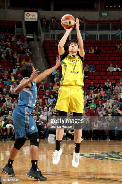 Ramu Tokashiki of the Seattle Storm shoots the ball during the game against the Minnesota Lynx during a WNBA game on June 3 2017 at KeyArena in...