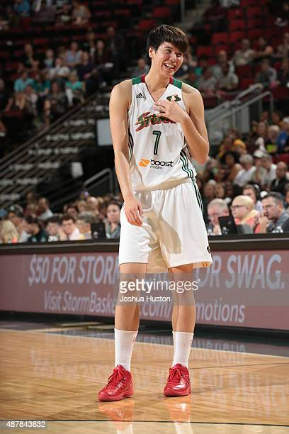 Ramu Tokashiki of the Seattle Storm stands on the court during a game against the Minnesota Lynx on September 11 2015 at Key Arena in Seattle...