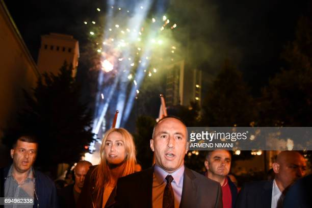 Ramush Haradinaj parliamentary elections Prime Minister candidate and leader of the Alliance for Future of Kosova joined by his wife Anita take part...