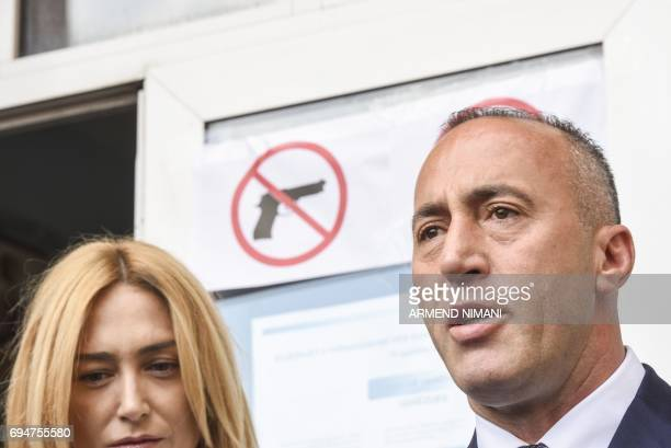 Ramush Haradinaj prime minister candidate and leader of the Alliance for Future of Kosovo speaks to the press after voting in Pristina during early...