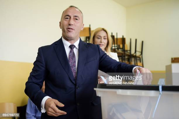 Ramush Haradinaj prime minister candidate and leader of the Alliance for Future of Kosovo casts his ballot at a polling station in Pristina during...