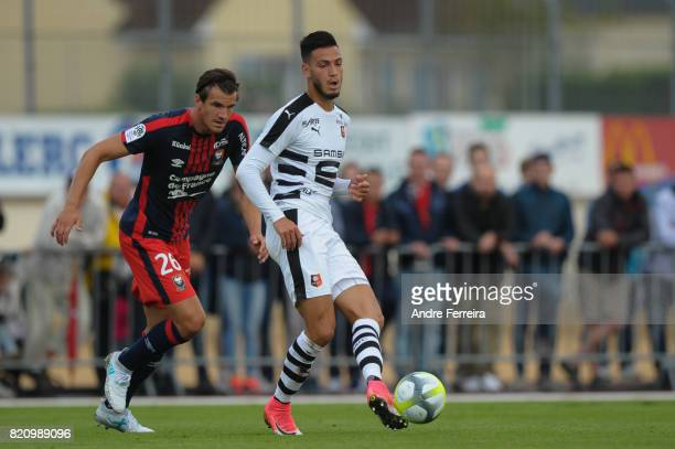 Ramy Bensebaini of Rennes during the friendly match between Stade Malherbe Caen and Stade Rennais Rennes on July 22 2017 in Vire France
