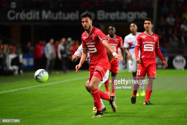 Ramy Bensebaini of Rennes during the Ligue 1 match between Stade Rennais and Olympique Lyonnais at Roazhon Park on August 11 2017 in Rennes