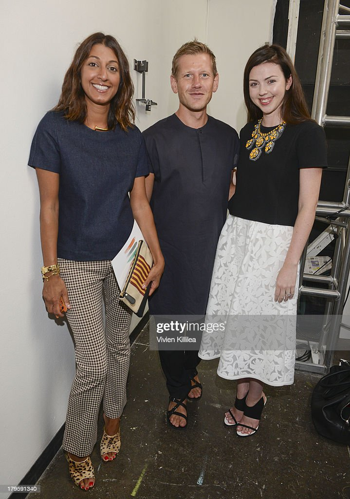 Ramya Giangola and fashion designers Paul Andrews and Tanya Taylor backstage at the Tanya Taylor fashion show during Mercedes-Benz Fashion Week Spring 2014 at Industria Studios on September 5, 2013 in New York City.