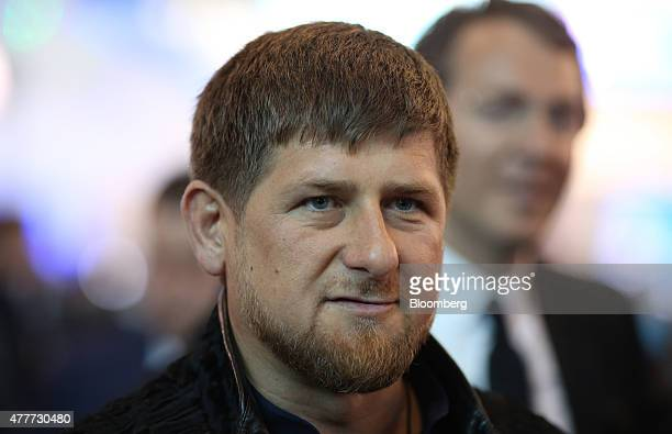 Ramzan Kadyrov leader of Russias Chechnya region arrives to attend a session at the St Petersburg International Economic Forum in Saint Petersburg...
