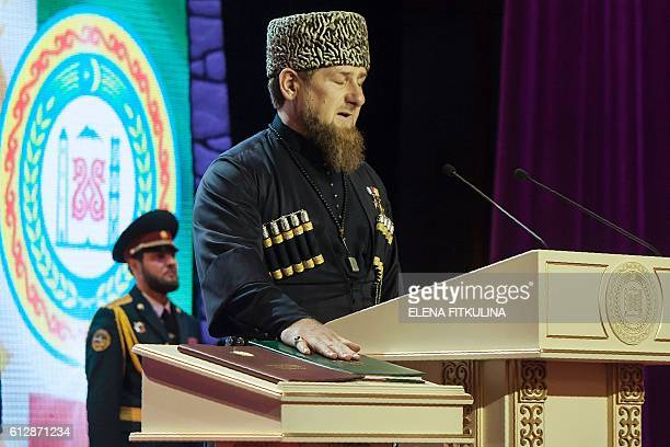 Ramzan Kadyrov takes an oath during the ceremony of his inauguration as the head of Russia's Caucasus region of Chechnya for a third term in Grozny...