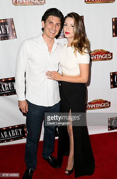 Ramzi Habibi and actress Masiela Lusha arrive at the opening of 'Cabaret' at the Pantages Theatre on July 20 2016 in Hollywood California