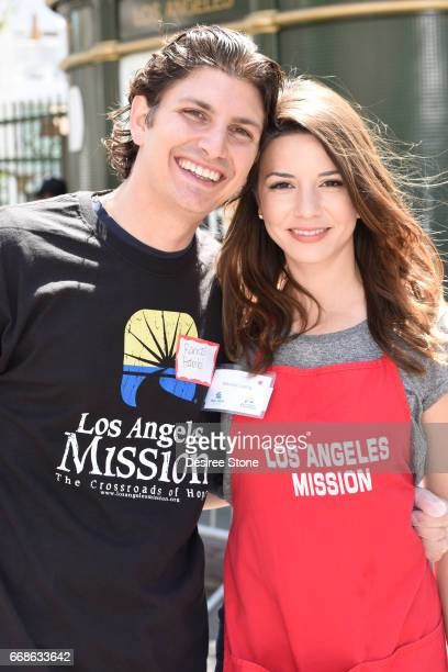 Ramzi Habibi and Masiela Lusha attend Los Angeles Mission's Easter Celebration at Los Angeles Mission on April 14 2017 in Los Angeles California