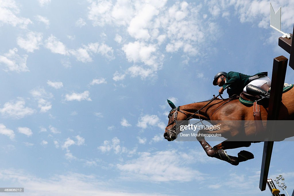Ramzy Al Duhami of Saudi Arabia riding Bayard van de Villa Theresia competes in the Class 02 CSI5* 150/155m Against the Clock with JumpOff during the...